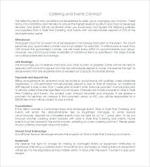 Catering Contract Samples Catering Agreement Template Example Of A Service Level Contract