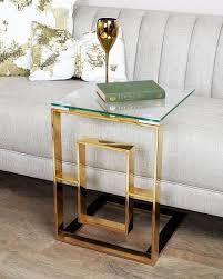 platini gold metal with glass top sofa table