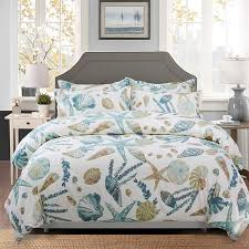 duvet cover set beach themed bedding sets 100 cotton super soft coastal bedding white teal seas and starfish nautical bedding with zipper