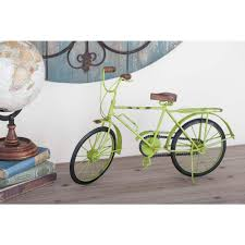Lime Green Decorative Accessories 100 in x 100 in Vintage Iron Bicycle Decorative Sculpture in Lime 38