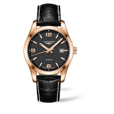 longines watches ernest jones longines conquest men s 18ct rose gold black strap watch product number 1297767