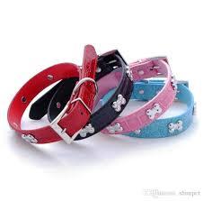 Bone Pet Dog Collar Durable Pu Leather Adjustable Puppy Cat Strap Collar Xs S M L 5 Colors
