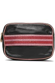 Designer Cosmetic Bags Sale Metallic Woven Trimmed Leather Cosmetics Case
