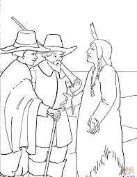 Small Picture Thanksgiving Pilgrims and Indian coloring page Free Printable