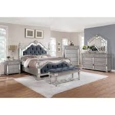 Best Quality Furniture Glam Grey 5 Piece Tufted Panel Bedroom Set