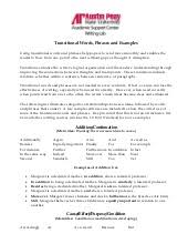 transitional sentences the three transition types