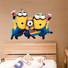Minion Bedroom Wallpaper Despicable Me 2 Minion Wallpapers Removable 3d Wallpaper For Kids