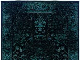Image Gray Woodwaves Dark Teal Blue And Black Worn Overdyed Rug Woodwaves