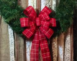 Christmas Wreath Bows/ Rustic Red Burlap & Flannel Patterned