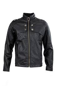 men clothing slim fit stand collar motorcycle synthetic leather jacket outwear black m