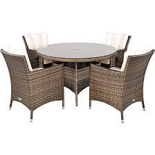 savannah rattan garden furniture 4 seat dining set plus back cushion savrgf02