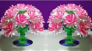 Recycled Flower Paper Easy Beautiful Paper Flower Empty Plastic Bottle Vase Making Crafte Water Bottle Recycle Flower