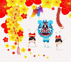 Lunar new year kid in traditional clothes. Happy Vector Stock Cute