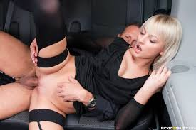 Horny blonde widow Katy Rose puts on a hot European backseat sex show