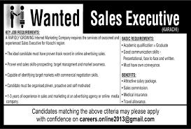 Sales Executive Job Description Sales Executive Jobs In Karachi July 2017 August Internet Marketing