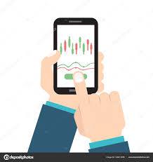 Candlestick Chart App Businessman Hold Smartphone Candlestick Chart App Vector