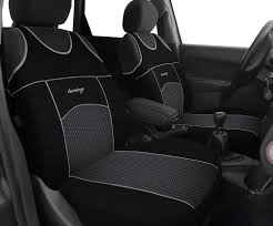 2 black grey front car seat covers for honda jazz