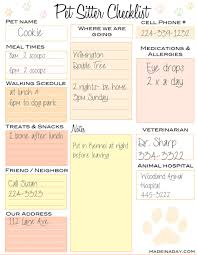 Pet Sitter Checklist Pet Sitting Pinterest Pet Sitting Pet