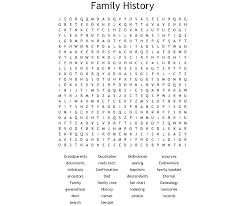 Genealogy Charts Crossword Genealogy Word Search Wordmint