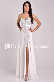Prom Dress Color Chart Crystal Detailed Sweetheart Chiffon A Line Prom Dress With Side Slit