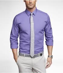 Light Purple Belt Purple Dress Shirt Black And White Tie Light Grey Pant