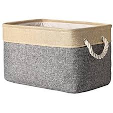 TheWarmHome Decorative Basket Rectangular Fabric Storage Bin Organizer  Basket with Handles for Clothes Storage (Grey