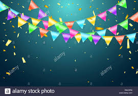 Garland Flag And Confetti In Party And Enjoyment Concept