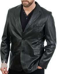 men s 2 on black leather blazer single vent cover