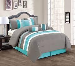 teal queen comforter. Amazon.com: Modern 7 Piece Bedding Teal Blue / Grey White Pin Tuck Ruffle QUEEN Comforter Set With Accent Pillows: Home \u0026 Kitchen Queen E