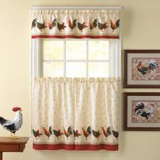 Decorative Chickens For Kitchen Rooster Kitchen Curtains Shop Everything Log Homes