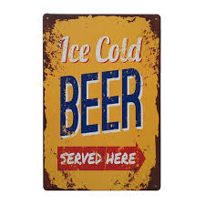 Bar Signs And Decorations ICE COLD BEER SERVED HERE Vintage Metal Tin Signs Decorative Bar 2