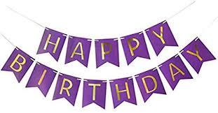 Purple Happy Birthday Banner Amazon Com Asidiy Purple Happy Birthday Banner Purple Card Happy