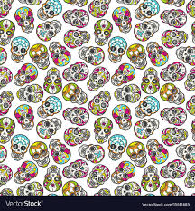 Skull Pattern Delectable Colorful Mexican Sugar Skull Seamless Pattern Vector Image