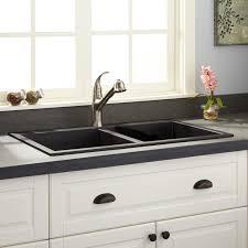 Granite Double Bowl Kitchen Sink 34 Townsend Double Bowl Drop In Granite Composite Sink Black