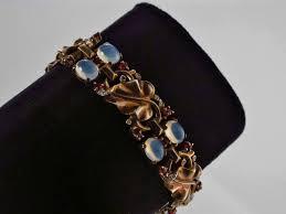 Trifari Alfred Philippe Designs Trifari Vintage Bracelet Moonstones On Vermeil Gold Gilt