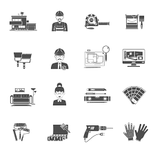Icon For Interior Design Interior Design Black Icons Set Download Free Vectors