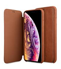 premium leather coaming facecover back slot case for apple iphone xs max tan wf