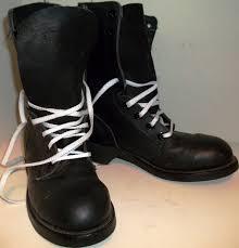 vintage mens ansi biltrite black leather steel toe combat boots