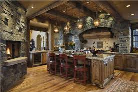 mahogany flooring for country kitchen designs layouts with stone fireplace and rustic wrought iron hanging lanterns