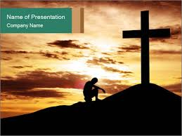 Christian Templates Man And Christian Cross Powerpoint Template Infographics Slides