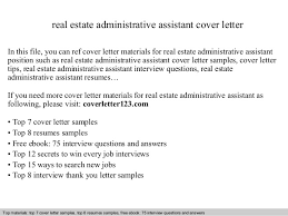 Resume Sample Real Estate Administrative Assistant Cover Letter