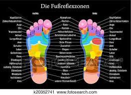 Foot Reflexology Chart Black German Clipart K20352741