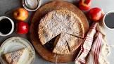bramley apple cheesecake with stewed blackberries