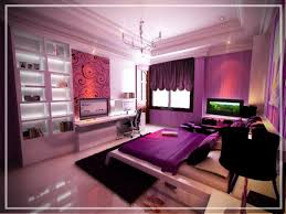 cute purple bedroom ideas with light purple wall apint combined by purple blanket on modern white bed next to flat tv on sideboard added by white shelves