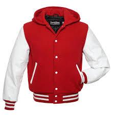 hoo scarlet red wool white leather letterman jacket
