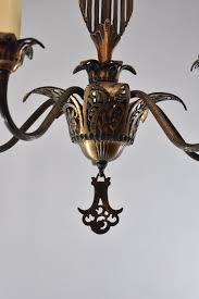 vintage art deco 5 arm chandelier light fixture