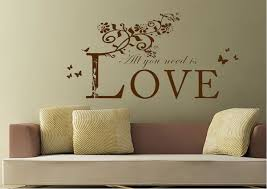 All You Need Is LoveWhite Text Quotes Wall Stickers Adhesive Wall Fascinating Love Wall Quotes