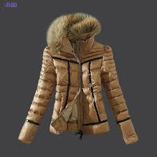 Moncler Womens Down Jackets Zip Fur Collar Light Tan,moncler nyc,moncler  outlet outlet online,Save up to 80%