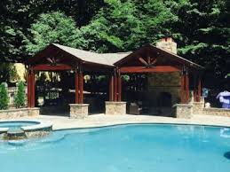 Pool Pavilion With Kitchen And Fireplace. Outdoor Kitchen