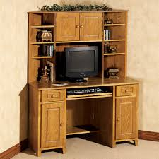Hutch Display Cabinet Light Brown Stained Oak Wood Corner Desk With Hutch And Display